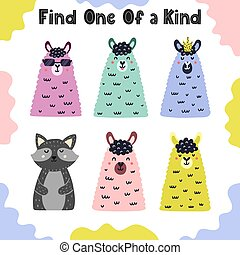 Find one of a kind. I spy activity page for kids