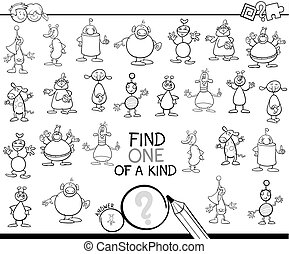 find one of a kind with aliens color book - Black and White...