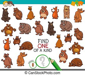find one of a kind with bear animal characters - Cartoon...