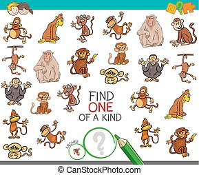 find one of a kind with monkey characters - Cartoon...