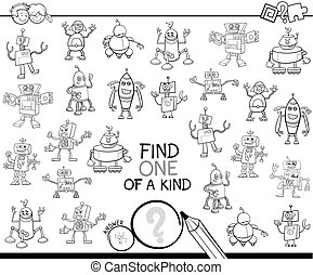 find one of a kind with robots color book - Black and White...
