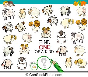 find one of a kind with sheep characters - Cartoon...
