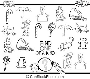 find one picture of a kind coloring book - Black and White...
