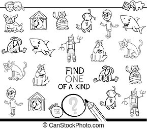 Black and White Cartoon Illustration of Find One of a Kind Educational Activity Game for Children with Funny Characters Coloring Book
