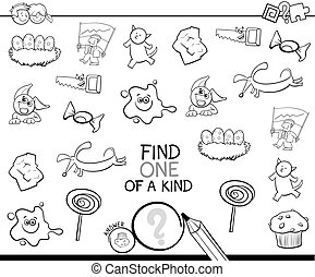 find one picture of a kind coloring page - Black and White...