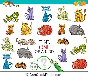 find one picture of a kind game with cartoon cats - Cartoon...
