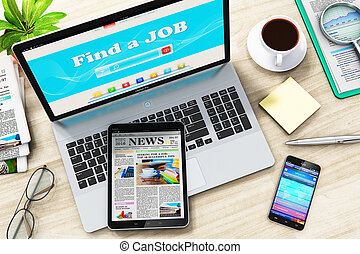 Find or seek a job in internet on laptop