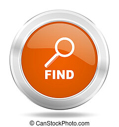 find orange icon, metallic design internet button, web and mobile app illustration