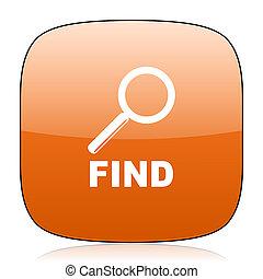 find orange square web design glossy icon