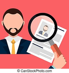 Find person and job interview graphic design, vector...