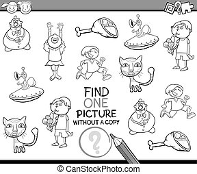 find picture without copy game - Black and White Cartoon...