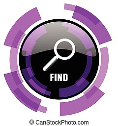 Find pink violet modern design vector web and smartphone icon. Round button in eps 10 isolated on white background.