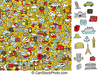 Find right travel icons, visual game. Solution in hidden ...