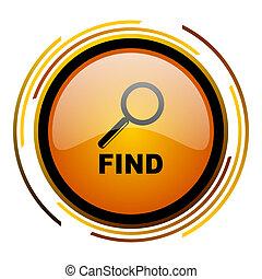 find round design orange glossy web icon