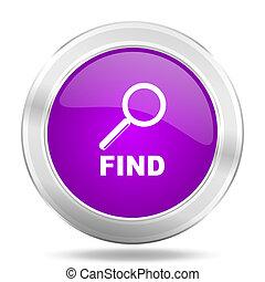 find round glossy pink silver metallic icon, modern design web element