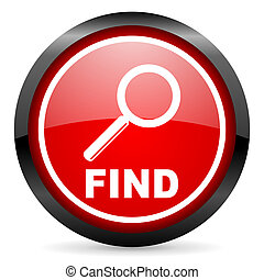 find round red glossy icon on white background