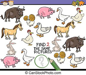 find same picture game cartoon - Cartoon Illustration of...