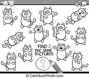 find same pictures game cartoon - Black and White Cartoon ...