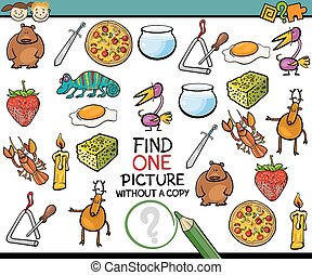 find single picture game cartoon - Cartoon Illustration of...
