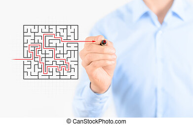 Find solution - Young businessman drawing success way to...