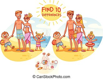 Find the 10 differences. Happy family on vacation