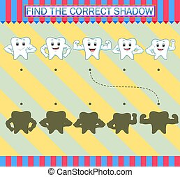 Find the correct shadow. Cartoon cute tooth characters