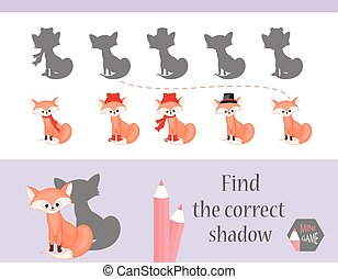 Find the correct shadow, education game for children. Cute Cartoon animals and Nature. vector illustration. fox