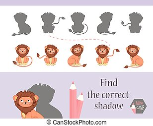 Find the correct shadow, education game for children. Cute Cartoon animals and Nature. vector illustration, lion