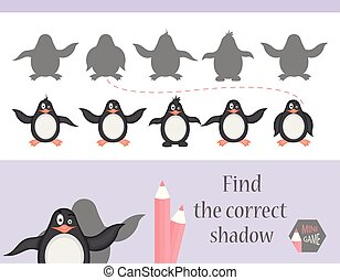 Find the correct shadow, education game for children. Cute Cartoon animals and Nature. vector illustration. penguin