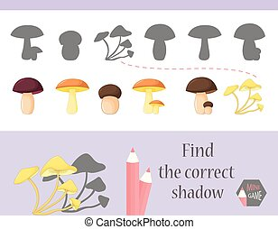 Find the correct shadow, education game for children. Cute Cartoon animals and Nature. vector illustration. mushroom