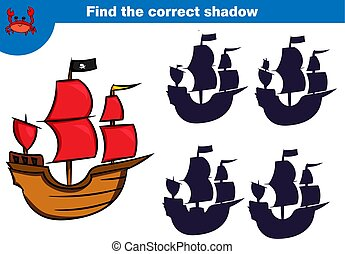 Find the correct shadow, education game for children. Set of cartoon pirate characters. Vector illustration