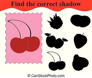 Find the correct shadow, educational game for kids. Sweet cherries. Vector illustration