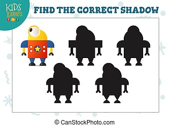 Find the correct shadow for cute cartoon robot educational preschool kids mini game. Vector illustration with 4 shade silhouettes for shadow matching riddle