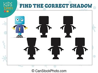 Find the correct shadow for cute cartoon robot educational preschool kids mini game. Vector illustration with 5 black silhouettes for shadow matching quiz