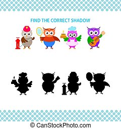 Find the correct shadow kids educational game. Cartoon owl different profession set with silhouette