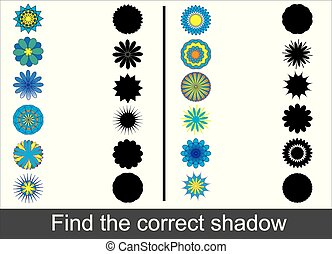 Find the correct shadow of doodle flowers. Educational kid's game.