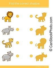 Find the correct shadow.Children educational game. Rhino,...
