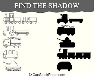 Find the correct shadows of transport, set. Color transport. Visual educational game.