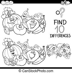 find the difference coloring page - Black and White Cartoon...