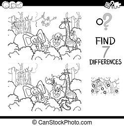 find the difference with animals coloring book - Black and ...