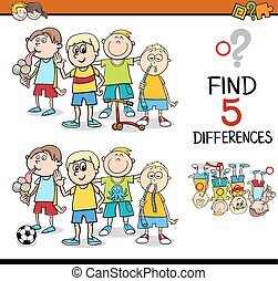 find the differences activity - Cartoon Illustration of ...