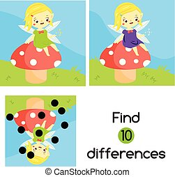 Find the differences. Educational children game. Activity for pre school years kids. Cute fairy sit on mushroom