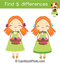 Find the differences educational children game. Kids activity sheet. Easter theme