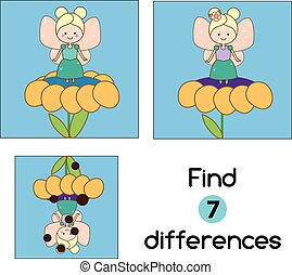 Find the differences educational children game. Kids activity sheet