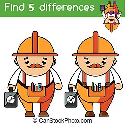 Find the differences educational children game. Kids activity sheet. Professions theme