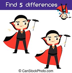 Find the differences educational children game. Kids activity sheet with boy in vampire costume. Halloween theme