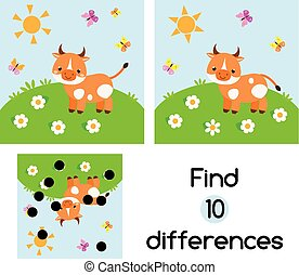 Find the differences educational children game. Kids activity sheet with cow on meadow