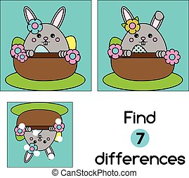 Find the differences educational children game. Kids activity sheet, with cute Easter bunny character