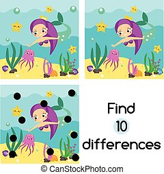 Find the differences educational children game. Kids activity sheet with cute mermaid underwater