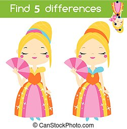 Find the differences educational children game. Kids activity sheet with cute princess